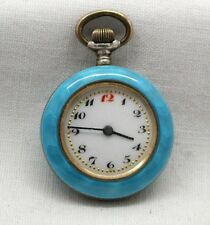 Antique Lovely Ladies Silver And Giulloche Enamelled Fob Watch