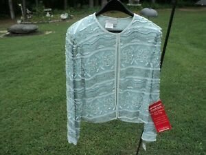 Vintage PAPELL BOUTIQUE 100 % Silk Sequin & Beaded Evening Jacket SIZE: 14 - NWT