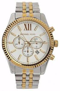 NEW Michael Kors MK8344 Lexington White Dial Gold-Tone Chrono Steel Men's Watch