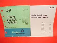 1966 CORVETTE CHEVELLE SS EL CAMINO RIVIERA GTO DELCO AM-FM RADIO SERVICE MANUAL