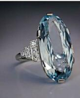 6Ct Oval Cut Aquamarine & Diamond Women's Engagement Ring 14k White Gold Finish