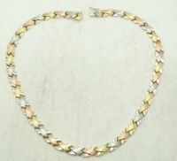 "14K Yellow, White & Rose Gold Brushed X Link Chain Necklace  8.4mm 17.5"" D3354"