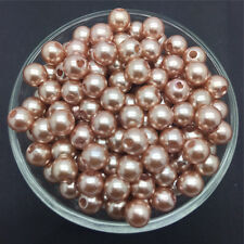 DIY 50PCS 8mm Light Brown Acrylic Round Pearl Spacer Loose Beads Jewelry Making