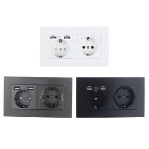 Wall mounted panel 16A power socket EU standard multi plug with 2 USB portM Ev