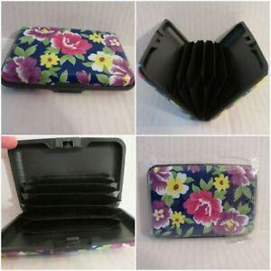 RFID Blocking Credit Card Holder Pocket Wallet Great Gift Blue w Floral Flower