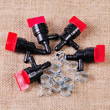 """5x 1/4"""" InLine 90 Degree Gas Fuel Valve+10x 1/2"""" Clamps fit for Briggs Stratton"""