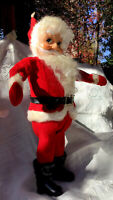 "1950'S Mid Century 14"" Rubber Face SANTA CLAUS CHRISTMAS Doll-Sawdust Body-Wire"