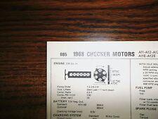 1968 Checker Motors SIX Series Car & Taxi Models 230 CI L6 Tune Up Chart