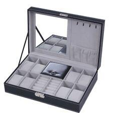 Jewelry Box 8 Watch Display Case Organizer Jewelry Storage Box Black