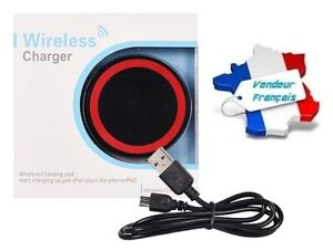 """Chargeur Wireless Induction """"Qi"""" Universel avec Câble USB (noir & rouge)"""