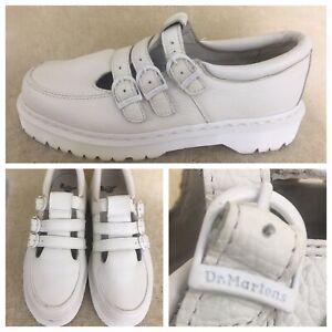 Dr. Martens FREYA 3 Strap Buckles US Size 11 EUR 43 Airwair White Leather NWOB