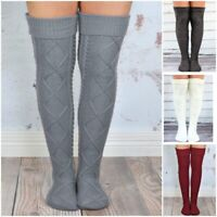 Womens Winter Cable Knit Over The Knee Long Boot Thigh-High Warm Socks Leggings
