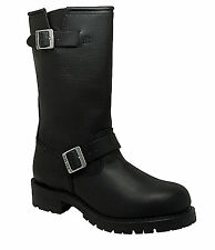 NEW Mens RideTecs Engineer Biker Boots Leather Motorcycle Work Safety 1440 Black