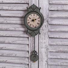 Reloj de péndulo de pared gris ornamentado con números romanos Shabby Vintage Chic Hogar