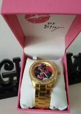 Betsey Johnson BJ00048-189 Red Flowers Dial Gold Crystal Boyfriend Women's Watch
