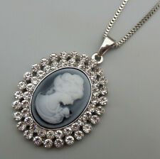Gray Cameo Crystal Oval Pendant Betsey Johnson Sweater Necklace