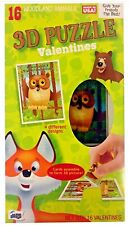 16 3-D Woodland Animal Puzzle Valentines Kids School Class Room V-Day Cards Q1