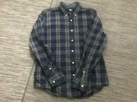 J Crew Men's Slim Washed Shirt In Plaid Large Button Front Blue Gray Long Sleeve