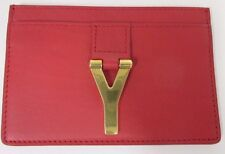 YVES SAINT LAURENT Rouge Orient Red Leather & Y Charm Credit Card Carrier