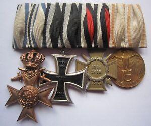 MEDAL WW1 GERMAN GROUP OF 4 - BAYERN MVK CROWN + EK2 + C of H + AUSTRIAN 1914-18
