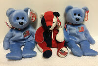 Ty Beanie Babies Bears Patriot, America, Plush Lot Fourth Of July TY