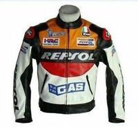 Men Outdoor REPSOL PU Leather Motorcycle Racing Jacket Suit Cycling Armor Coat