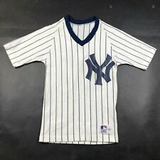 Vintage New York Yankees Youth Boys S White Striped T Shirt Jersey Sand Knit #2