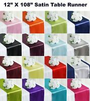 "1/10/12/15/20/25 - SATIN Table Runners Sash wedding party decoration 12"" X 108"""