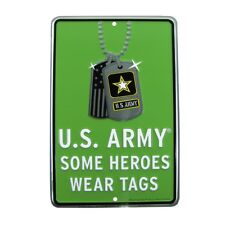 Some Heroes Wear Dog Tags Embossed Tin Sign Home/Office Wall Decor US Army Gift