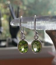 315C Peridot Solid 925 Sterling Silver faceted gemstone earring RRP $44.95