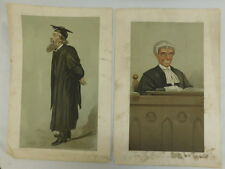 ANTIQUE VANITY FAIR PRINTS BY SPY 'MARLBOROUGH COLLEGE' 'LAWYER ON THE BENCH'