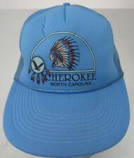Vtg Cherokee North Carolina Snapback Trucker Hat Cap Mesh Rope Indian A8