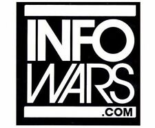 "Infowars.com Square Logo Sticker Alex Jones White on Black 3"" x 3"" Original NEW"