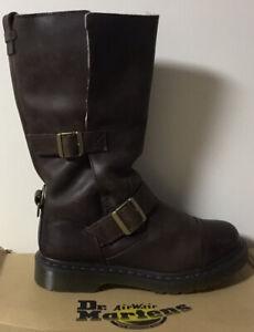 Dr Doc Martens KATHLEENA fold down leather biker boots fur lined size UK 6 EU 39