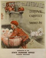 """ Sein Nettes Zu Tiere"" Vintage A4 Plakat (Replik Veterinär Bild Hund Katze )"