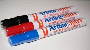 12x Artline Whiteboard Marker 500A EK-500A Black/Blue/Red Bullet Point