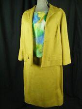 Vtg 50s Mustard Linen Jacket/Skirt w/ Blue Green Silk Top-Bust 38/Waist 26.5