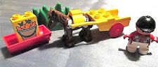 Lego Duplo Pony cart Kind Figur Kutsche Sulky Springreiter Pferd Reiterhof Kappe
