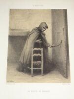 Édouard FRERE (1819-1886) Litho ORIGINALE FEMME EGLISE REALISME ECOLE ECOUEN