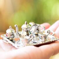 10pcs 1:12 Puppenhaus Miniatur Silber Metall Tee Kaffee Set Geschirr Dekor