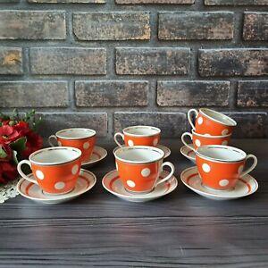 Red porcelain tea set with polka dots / Soviet vintage tea set for 6 people, USS
