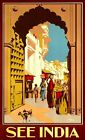 "Vintage Illustrated Travel Poster CANVAS PRINT See India Street life 2 8""X 12"""