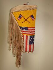 Beaded and Fringed Pistol Holster / American Flags