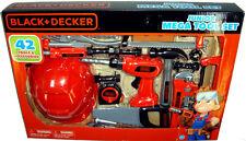 Black and Decker Junior Mega Tool Set W/ Hard Hat Drill Saw 42 Tools Playset MIB