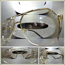 Men's or Women VINTAGE RETRO Style Clear Lens Light Tint SUN GLASSES Gold Frame