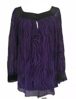JAEGER L 14 16 Purple Black Animal Stripe Blouse Christmas Party Top Psychedelic