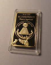24K GOLD Plated Illuminati Eye Adam Weishaupt 1776 New World Order Pyramid Bar