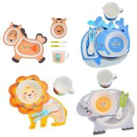 Baby Tableware Cartoon Children Feeding Dishes Kids Dish Bamboo Fiber Dinne Q4Y7
