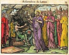 """Leclerc's Bible - Hand-Colored Woodcut - """"RESURRECTION OF LAZARE"""" - 1614"""