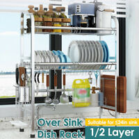 US Dish Drying Rack Stainless Steel Over Sink Dish Rack Large Capacity Holder